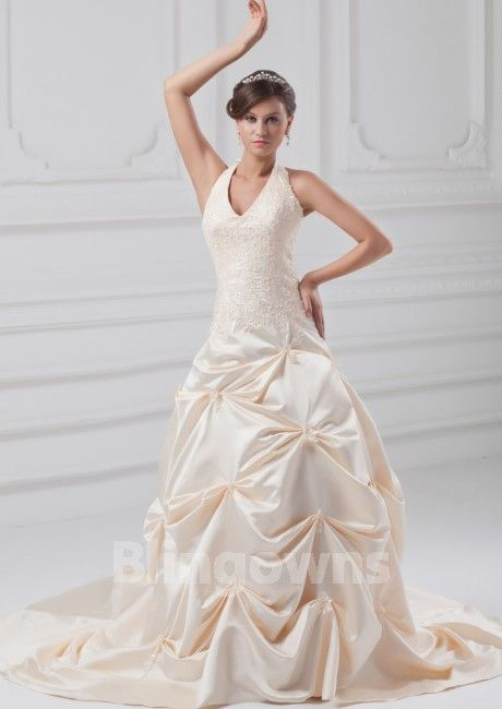 Halter Taffeta Lace Up Appliques Sweep A-line Sleeveless Wedding Dresses