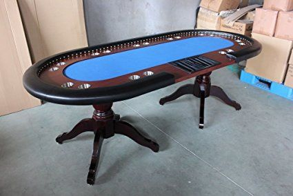 Deluxe 94 Solid Wood Texas Holdem Poker Card Table 10 Players Dining Top Blue Poker Table Solid Wood Table