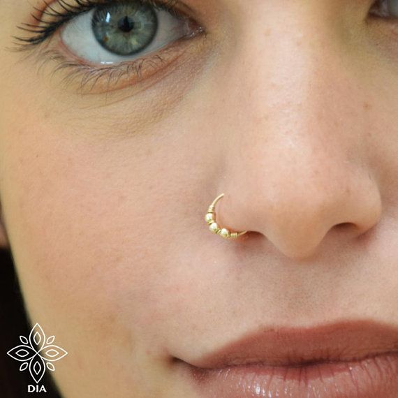 Nose Ring Solid 14k Gold Nose Earring Hoop Seamless Nose Ring