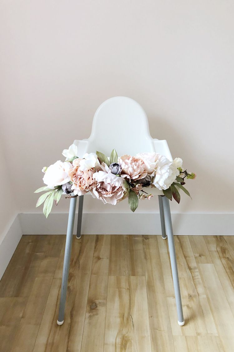 Floral garland for high chair. Baby girl's first birthday!