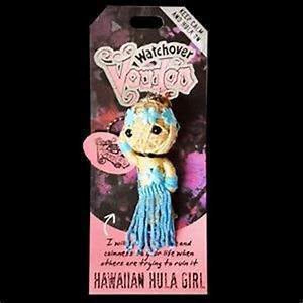 HAWAIIAN HULA GIRL ~ LIFE CHARM ~ WATCHOVER VOODOO DOLL ~ HANDMADE KEYRING