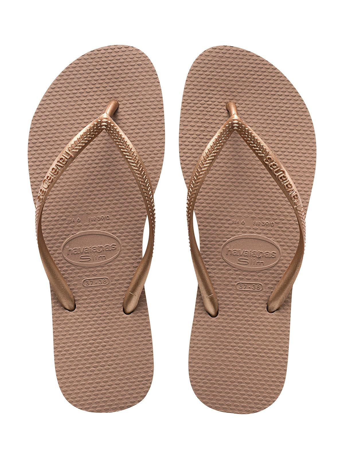 c8d8c557befe04 Nude Colour Havaianas Flip Flops With Rose Gold Strap - Slim Rose Gold