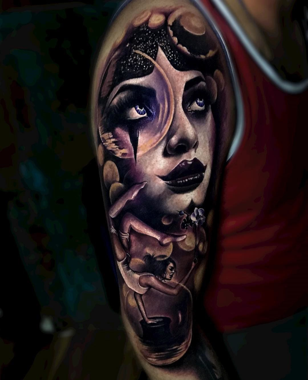 80 crazy and amazing tattoo designs for men and women desiznworld - Beautiful Magic Themed Piece With A Female Portrait And A Balancing Lady Done On Guy S Bicep