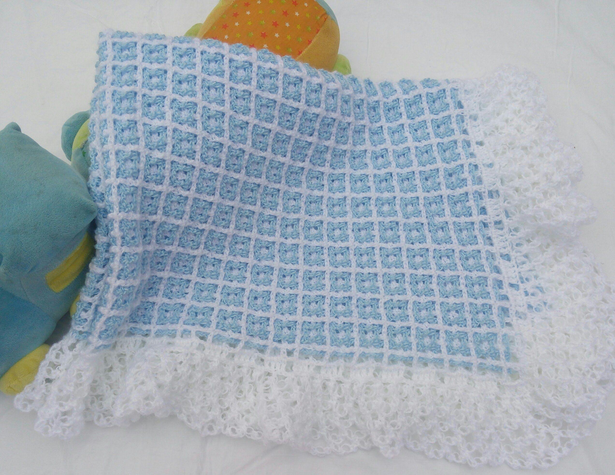 Cobija o manta para beb a crochet f cil y r pido - Manta de bebe a ganchillo ...