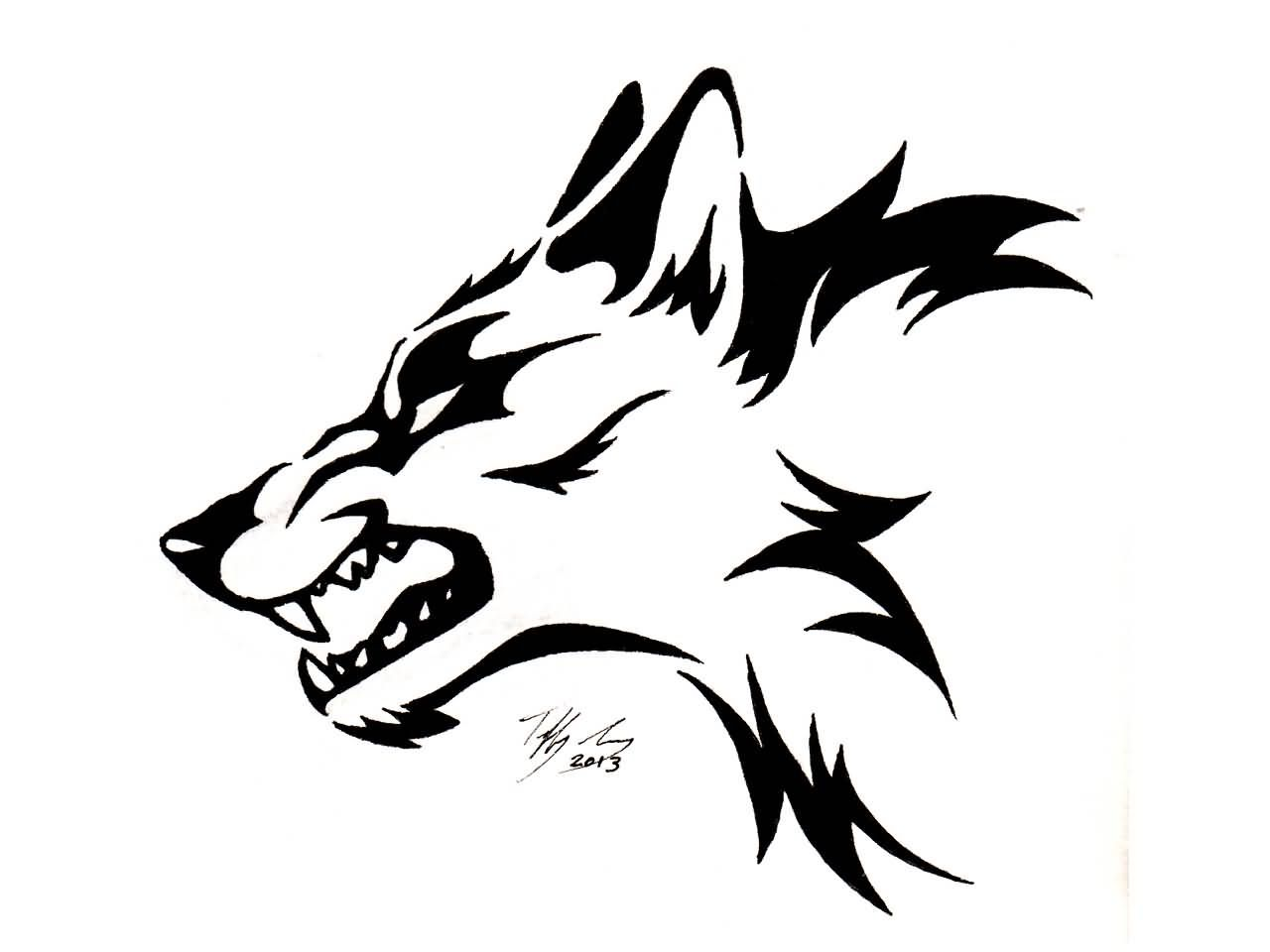Easy Line Drawings Of Animals : Terrific angry tribal wolf head tattoo design t shirt pinterest