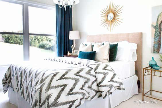 Black white blue bedroom decor Neutral guestroom with pops of color