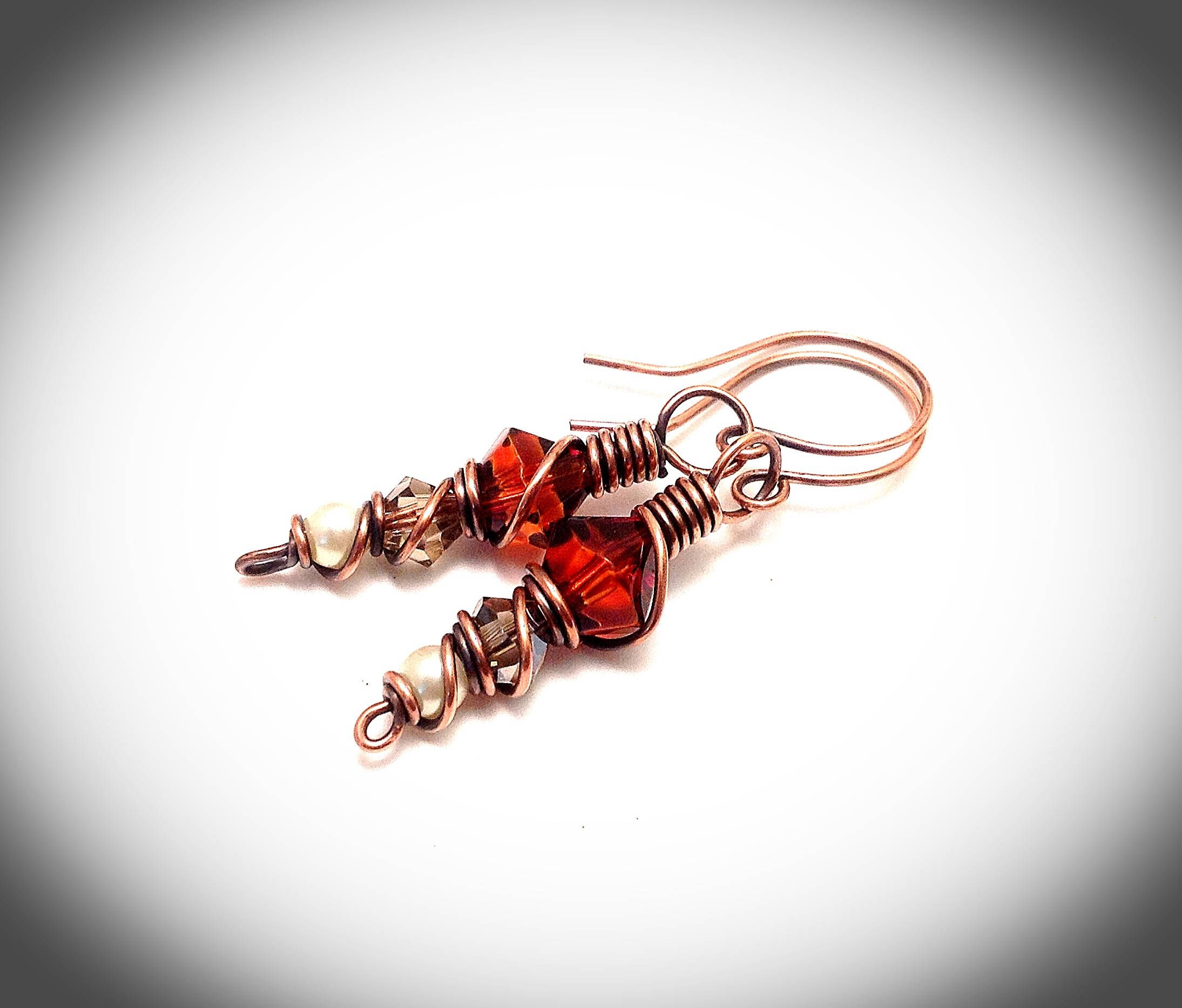 Copper wire earrings. Wire wrapped jewelry. Crystals and stones ...