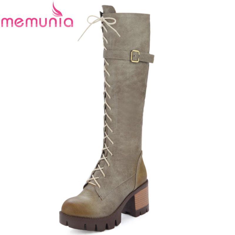 Women's Trendy Round Toe Buckle Lace Up Warm Mid Calf Martin Boots