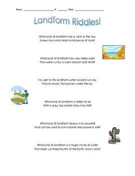 Landform Riddles Homeschool Social Studies Riddles For Students Social Studies Worksheets