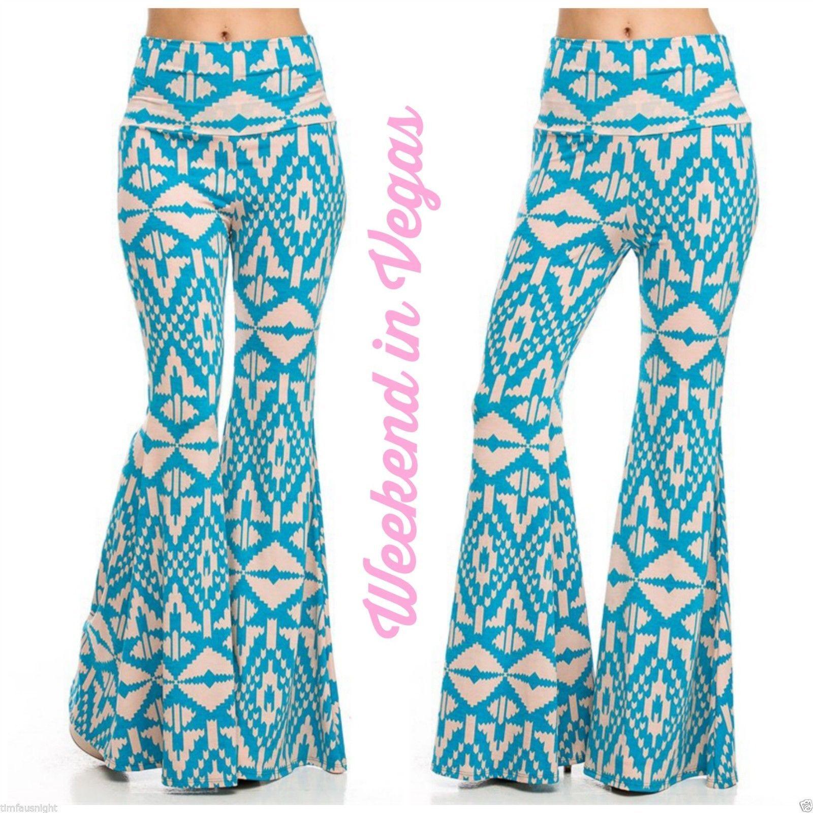 eaa2710d0dafb Tribal Boho Turquoise Blush Pink Tapered Leg Bell Bottom 70's Palazzo Pants    eBay