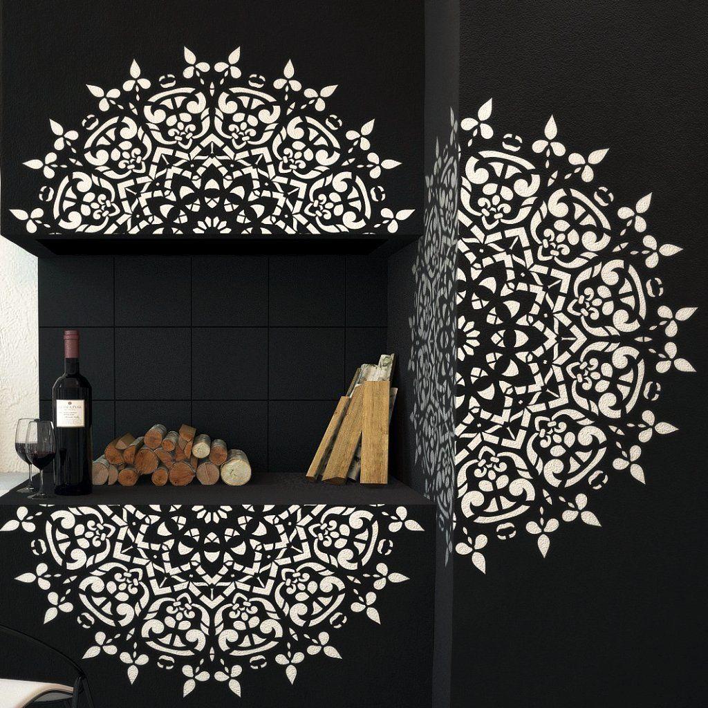 Round Symmetrical Mandala Wall Stencil Wall Furniture