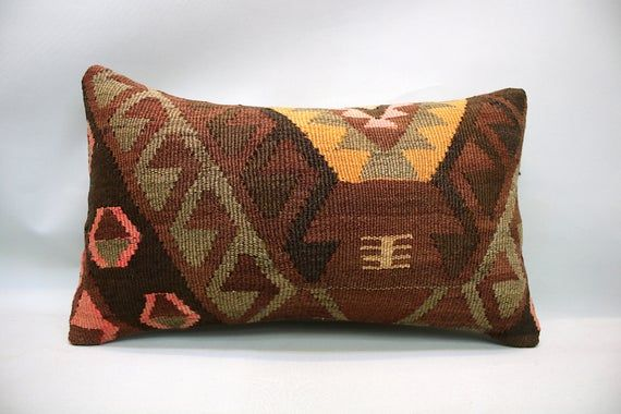 "Kilim Pillow, 12""x20"", Decorative Sofa Pillow, Lumbar Pillow, Vintage Pillow, Turkish Pillow, Throw Pillow, Accent Pillow, Kilim Cushion"