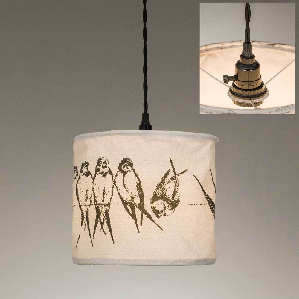 Birds On A Wire Canvas Pendant Lamp Lamps Country Wiring Ceiling Fan To Plug