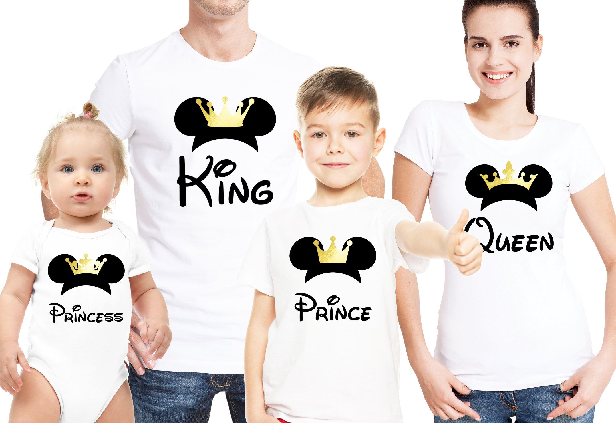 Details about King Queen Prince Princess Mickey Minnie Family Cute matching Hoodie Pullover