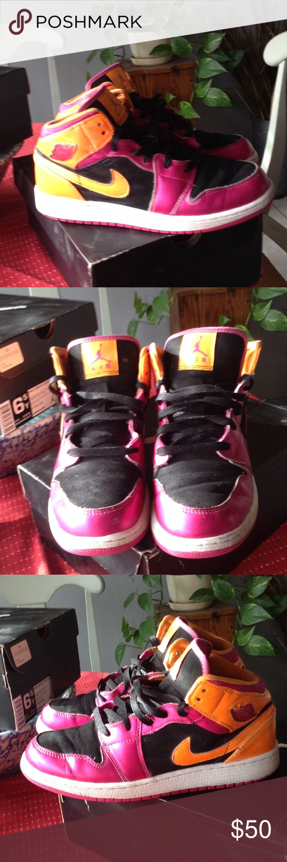 new style d6ddd a596e Women s Air Jordan 1 Mid Super cute shoes 💖 Very well taken care of  women s  girl s Air Jordan with box still. Colors of shoe are Black Fusion  Pink-Bright ...