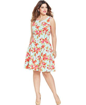 Love Squared Plus Size Floral-Print A-Line Dress...shower | Wedding ...