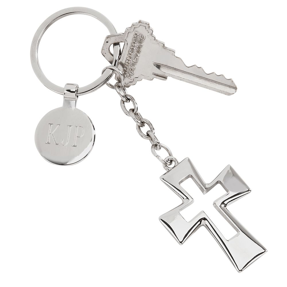 Personalized Silver Open Cross Key Chain With Engraved Tag In 2020 Keychain Design Keychain Personalized Keychain