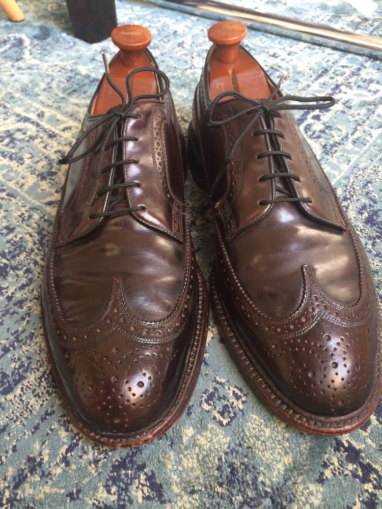 HANOVER Shoes Mens  Size 13 Leather Wingtip Shoes Brogue Oxfords Vintage Black
