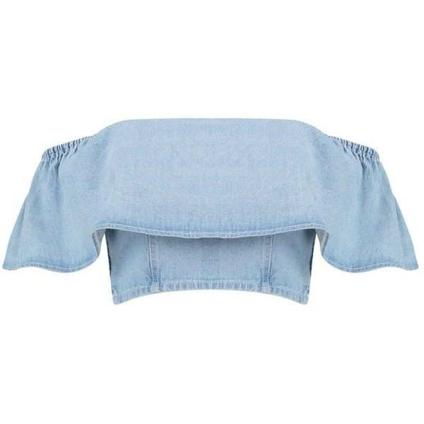 84b9788d87d Boohoo Petite Harriet Ruffle Denim Crop Top ($11) ❤ liked on Polyvore  featuring tops, shirts, crop tops, ruffle shirt, flounce crop top, blue  denim shirt, ...