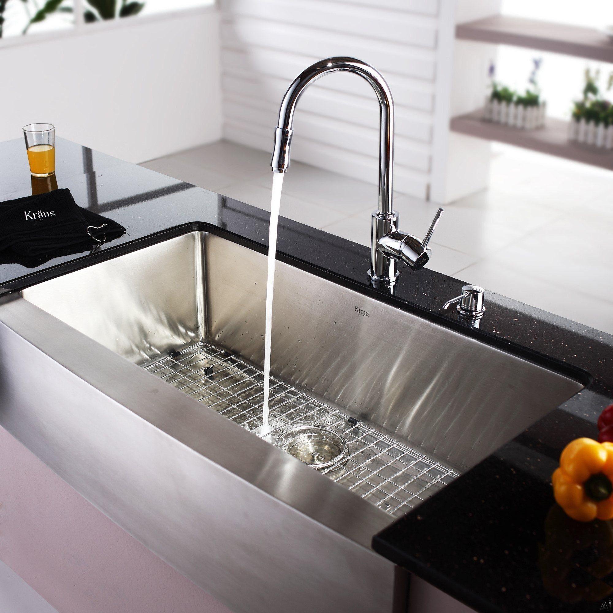 kraus kitchen combo series khf20036kpf1622ksd30ch 36 inch farmhouse single bowl stainless steel sink with pull  kraus kitchen combo series khf20036kpf1622ksd30ch 36 inch      rh   pinterest com