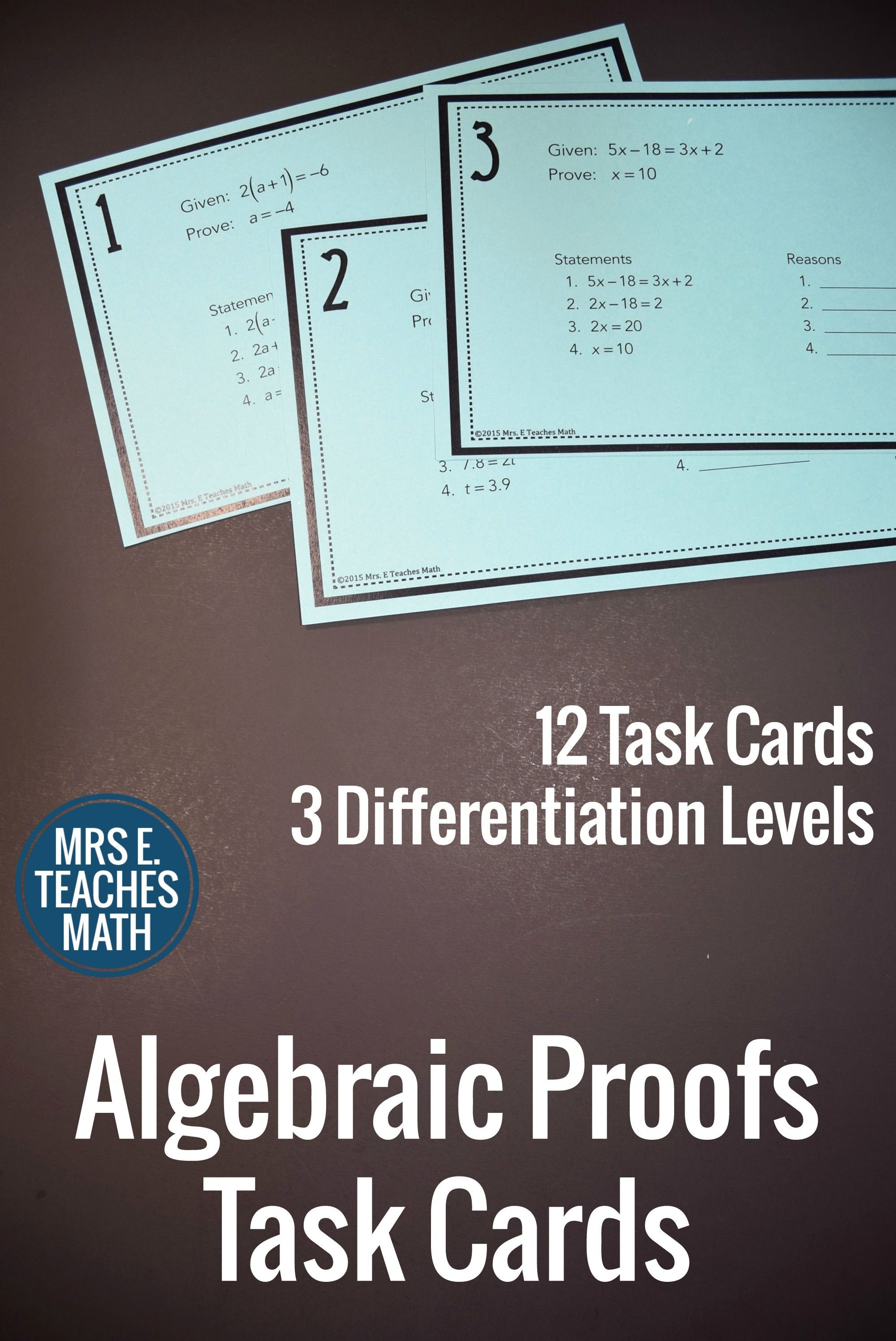 Algebraic Proofs Task Cards With Images
