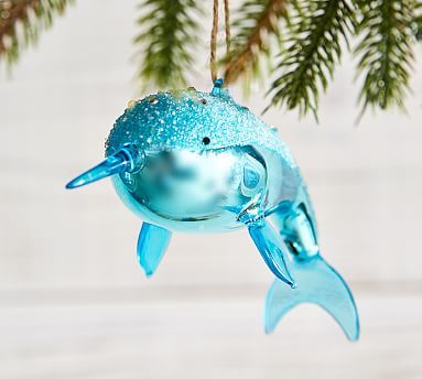 Mercury Amp Glitter Glass Narwhal Ornament Xmas