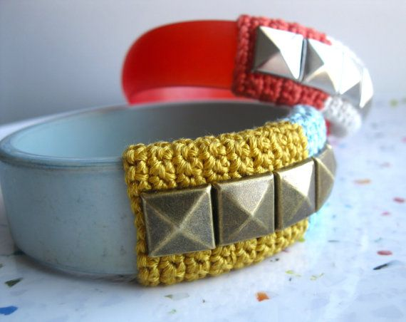 Studded Vintage Lucite Bangle--Pale Aqua and Golden Yellow