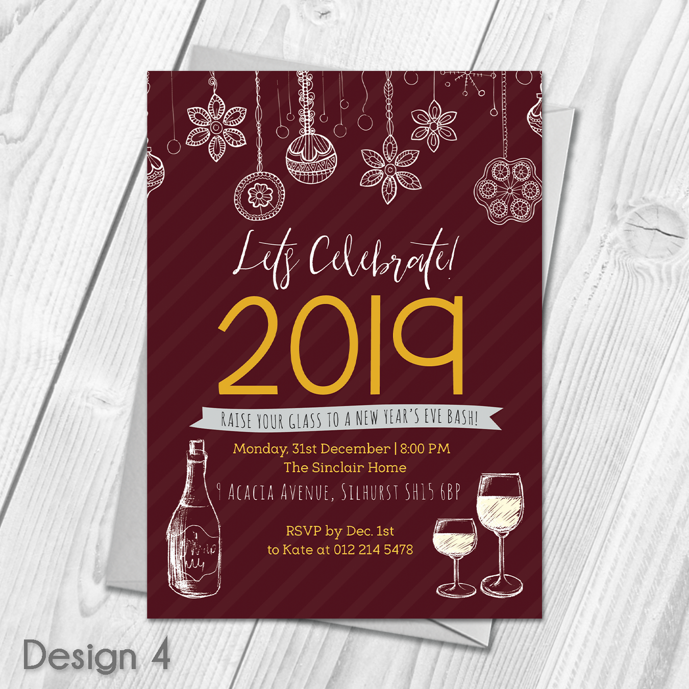 Personalised New Years Eve Celebration Party Invitations ...