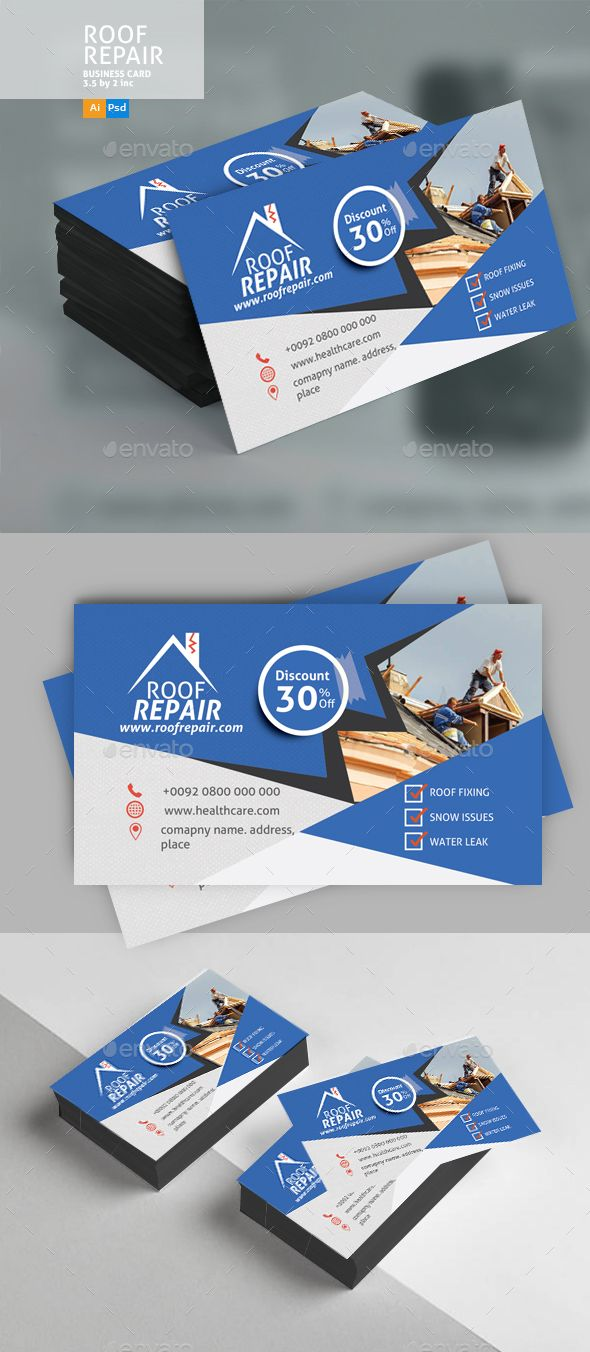 Roof repair business card design business cards print templates roof repair business card design business cards print templates and card printing wajeb Image collections
