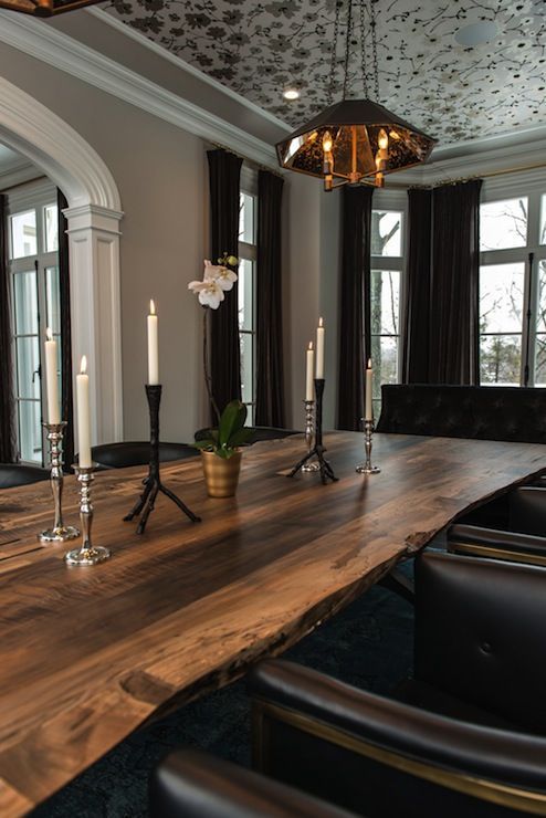 Black Tufted Dining Chairs  Contemporary  dining room