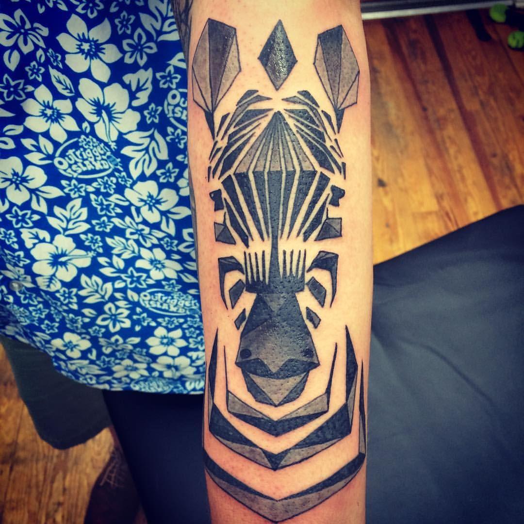geometric zebra by chriskelleytattoos