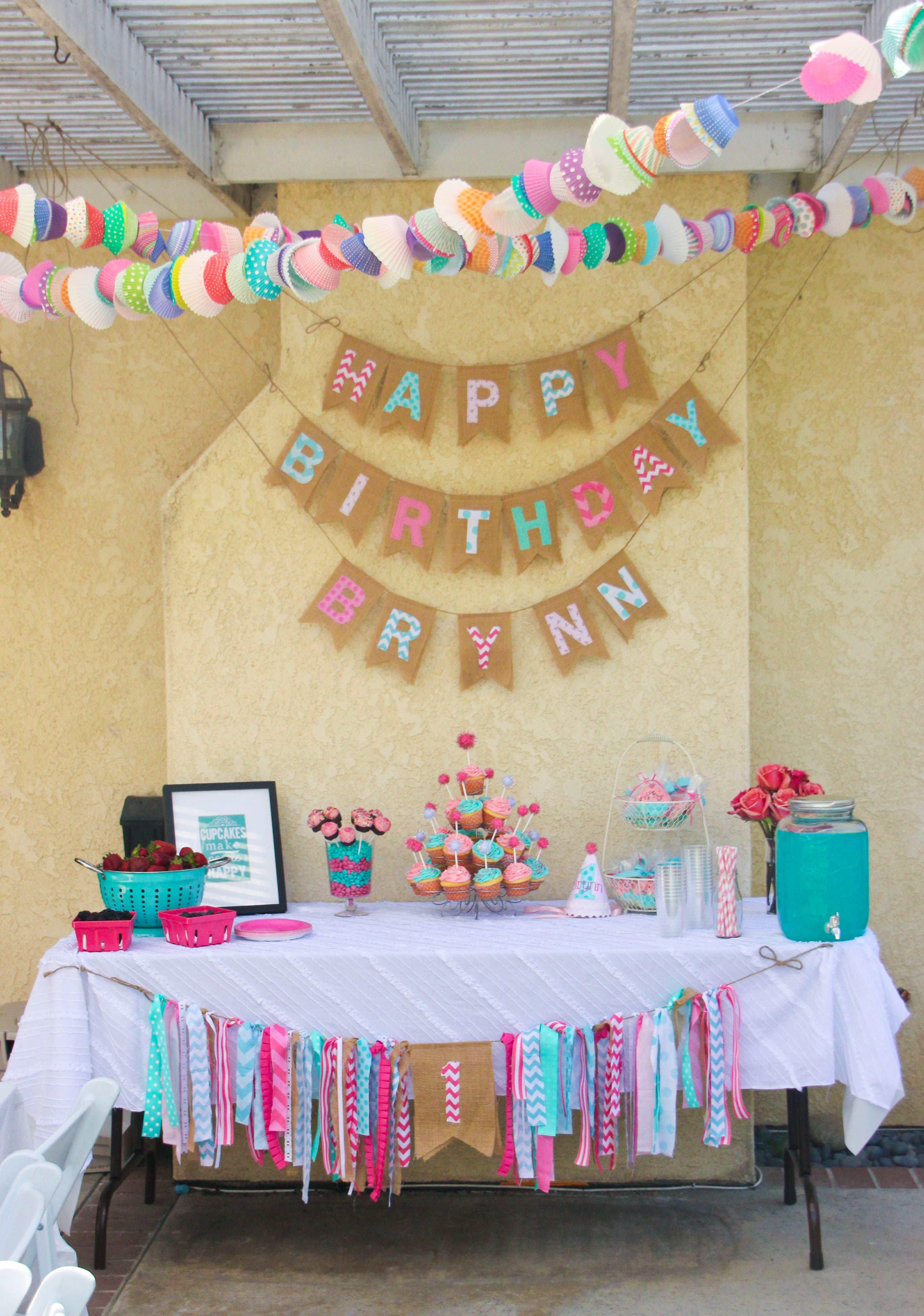 Pink And Aqua Cupcake Themed 1st Birthday