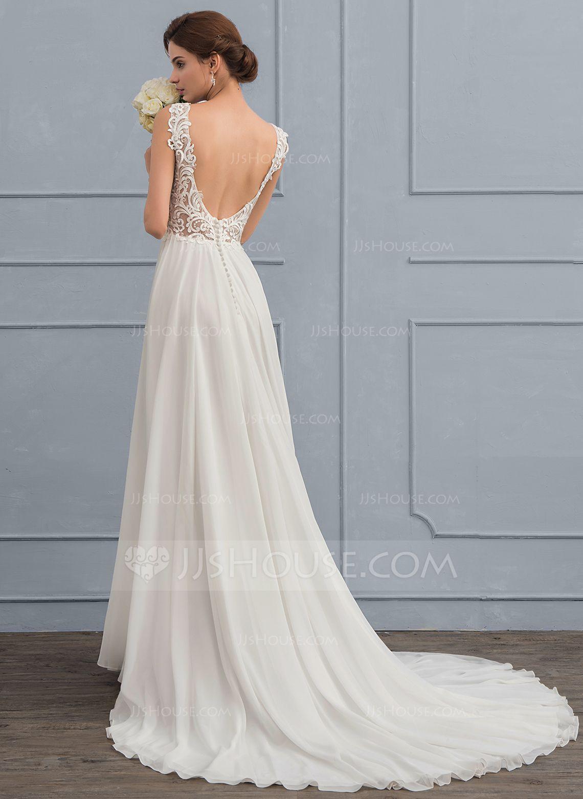 Au 352 00 A Line V Neck Court Train Chiffon Wedding Dress Jj S House Chiffon Wedding Dress Wedding Dresses Online Wedding Dress