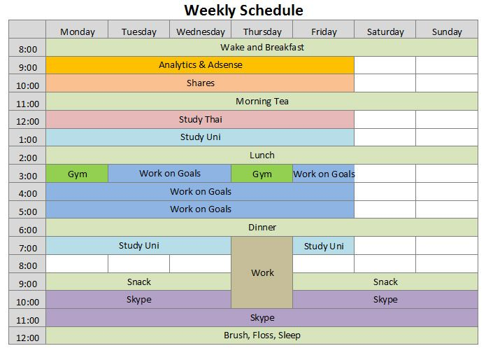editable weekly schedule