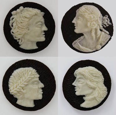 OREO CAMEOS. We've all been told not to play with our food at one time or another, but Judith G. Klausner, who makes these intricate cameos out of the filling in Oreo cookies definitely takes it up a notch.
