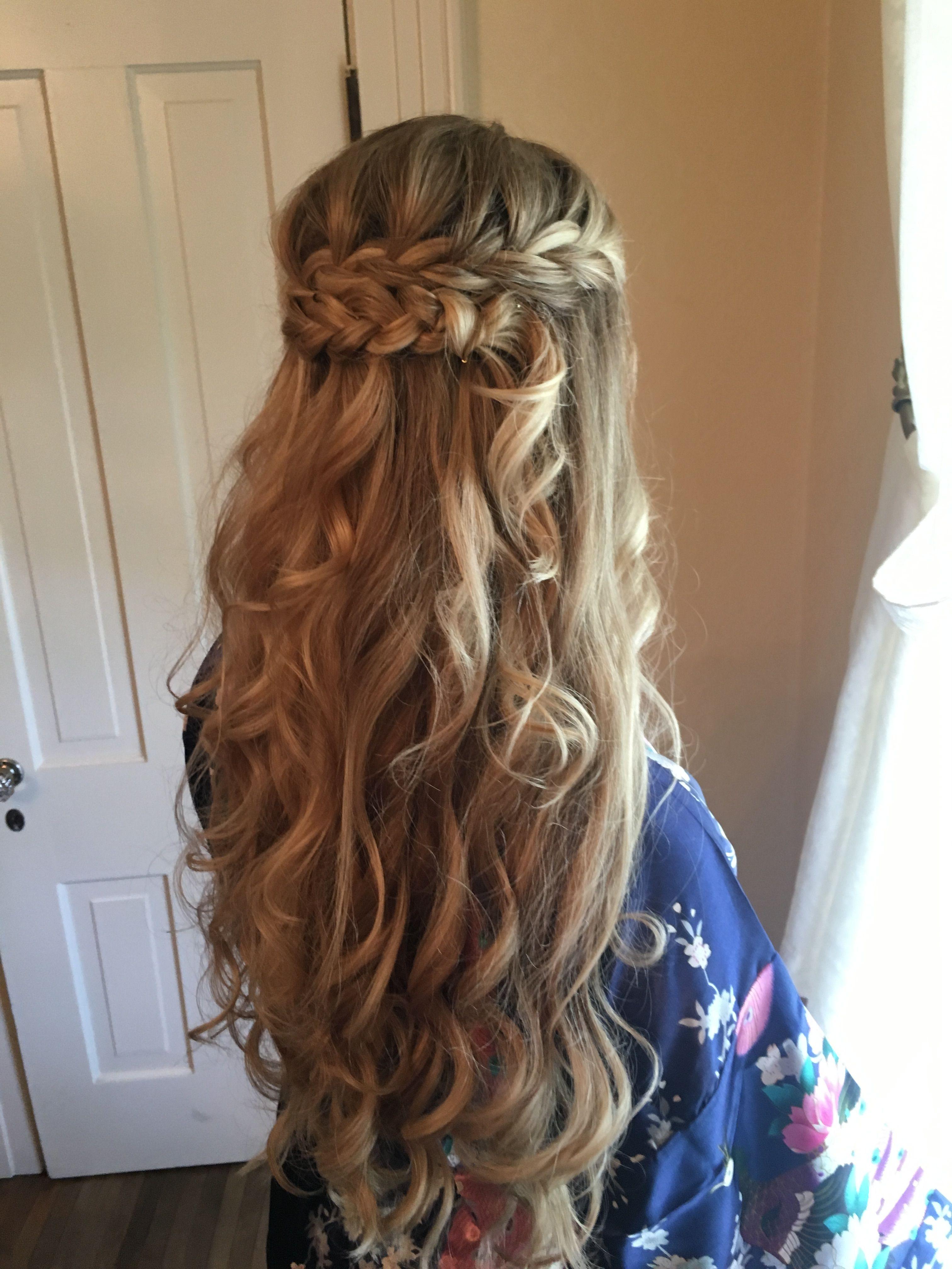 Half up half down up do braid curls wedding hairstyles long hair