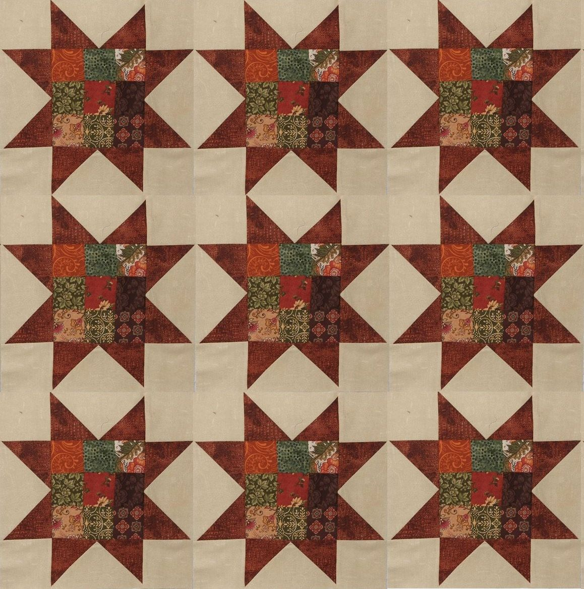 Sawtooth Star Quilt Block Set, 9 Patch, by KountreeCreations on Etsy