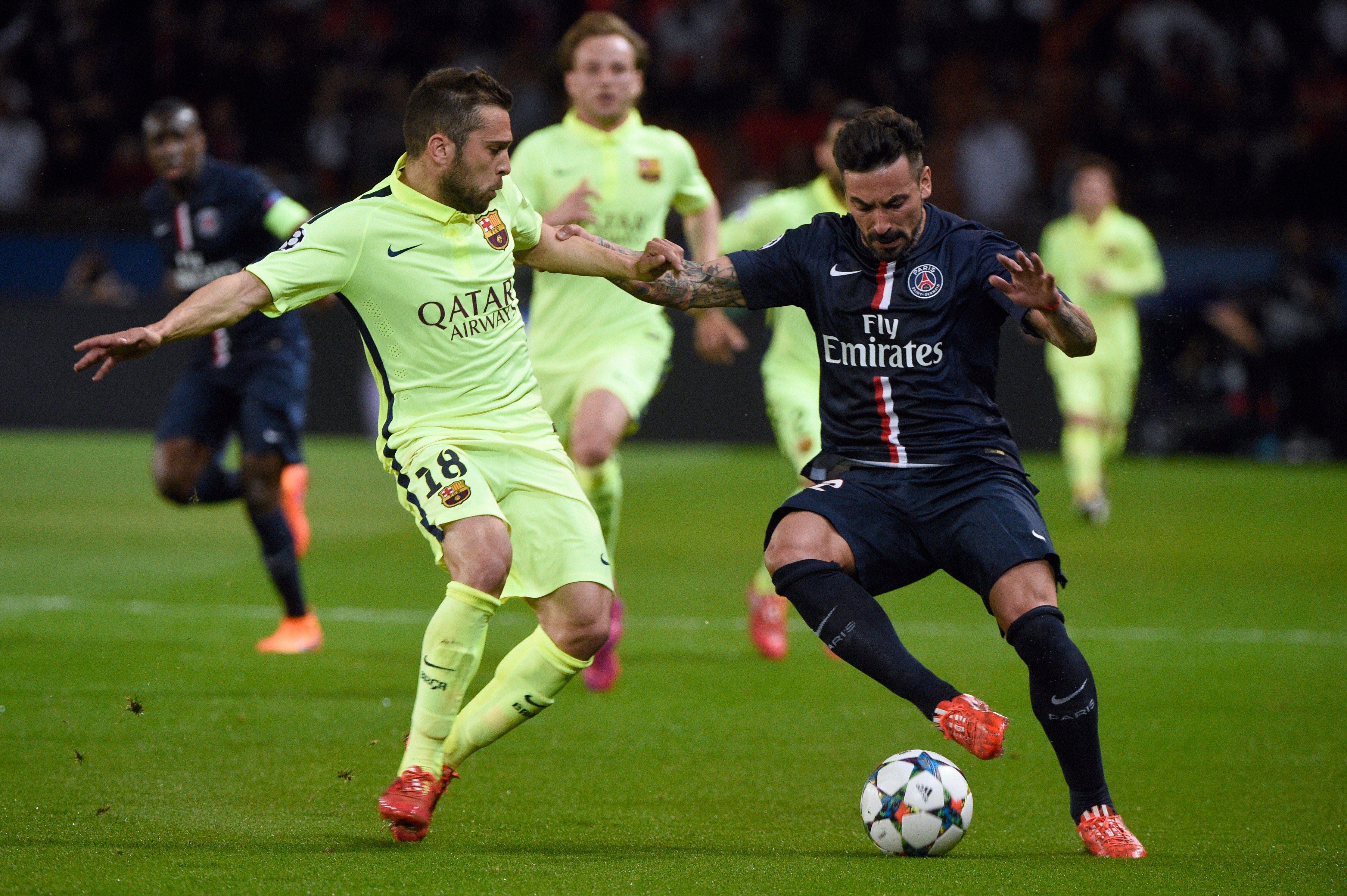 Ezequiel Lavezzi Paris vs Barcelona - Cuartos de final - Partido de ...