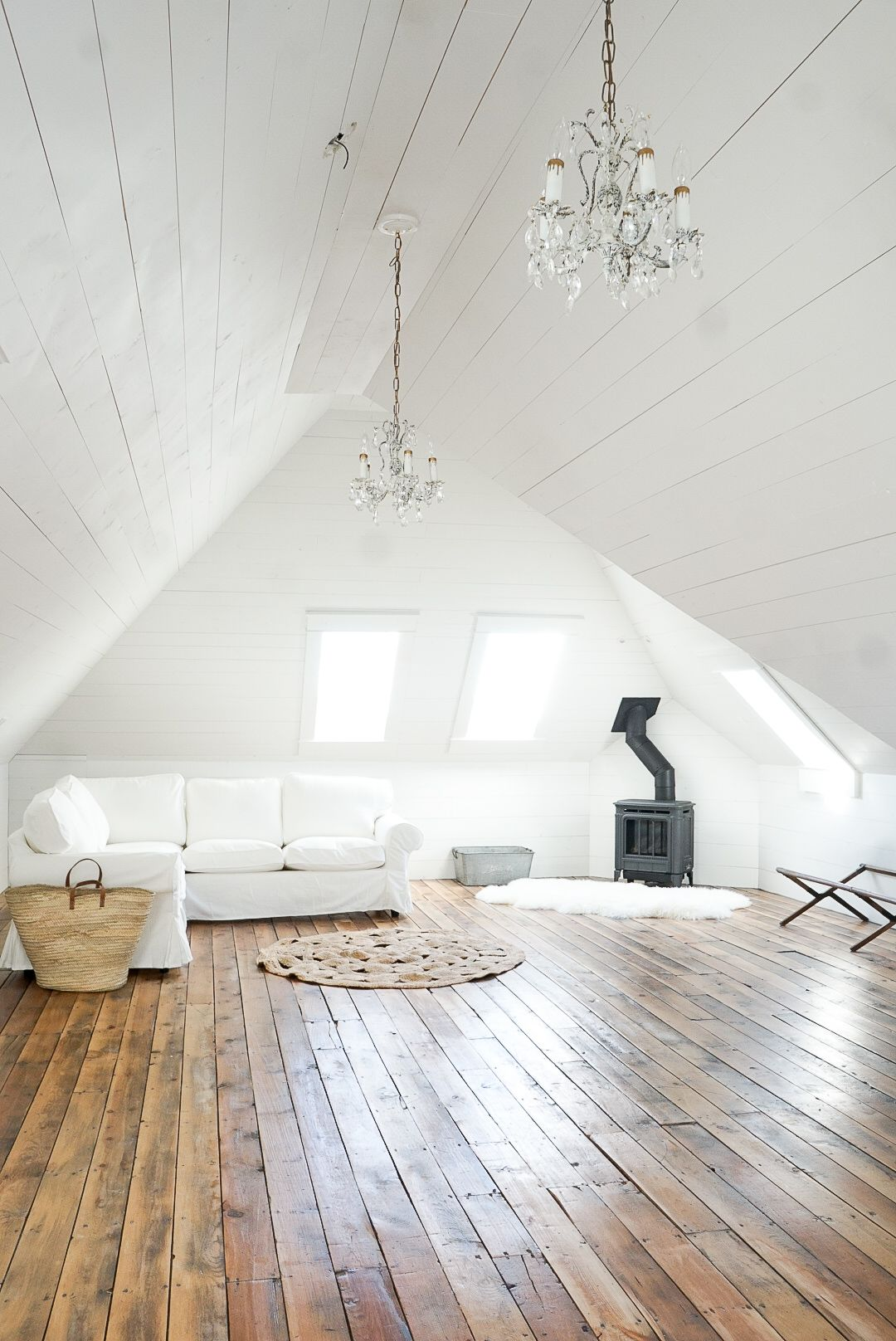 Cozy White Shiplap Attic Family Room Attic Remodel Attic Rooms Attic Renovation