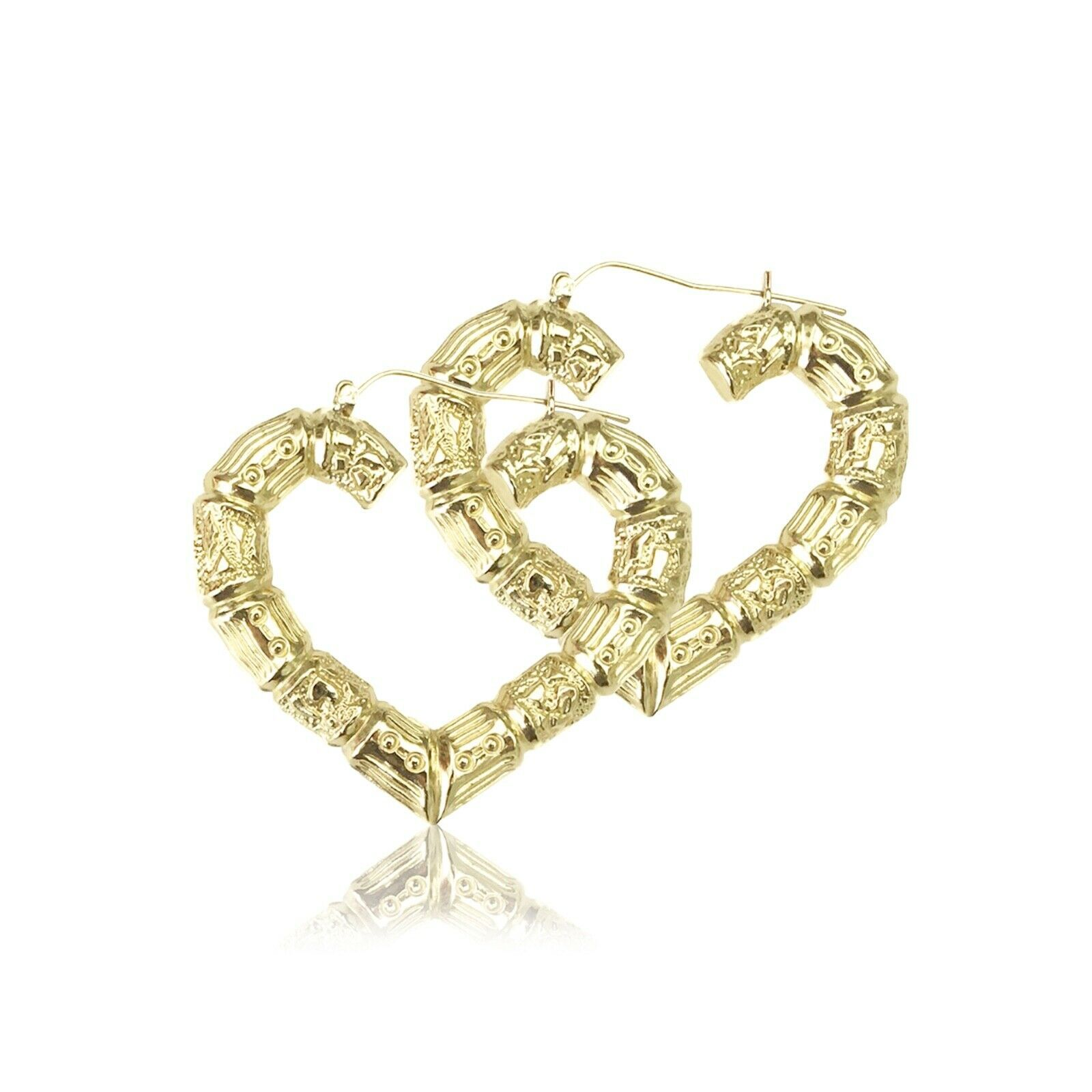 10k Yellow Gold Heart Bamboo Hoop Earrings Door Knocker Women Yellow Gold Earring Ideas Of Yellow Gold Earring Yellowgoldearring In 2020