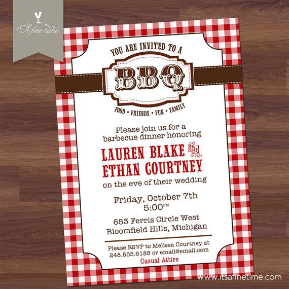 Couples Shower BBQ Rehearsal Dinner Invitation - Vintage - Red - email invitations