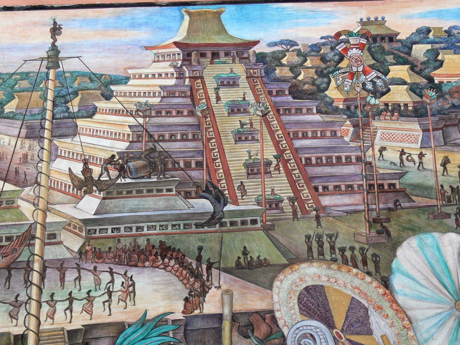 Murales Rivera Indianer Vor Tenochtitlan Pyramide 28129murales Diego De