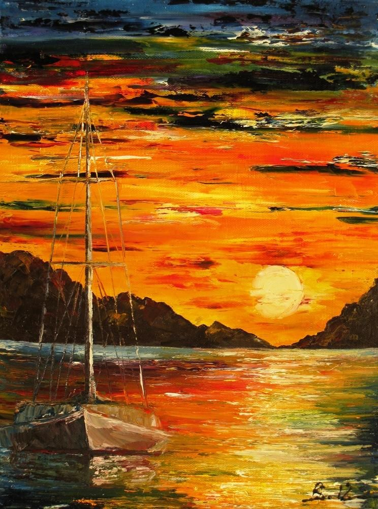 Waiting For The Sunrise Painting By Amalia Suruceanu In My Paintings At Touchtalent 53043 Sunrise Painting Nature Art Painting Landscape Canvas Art