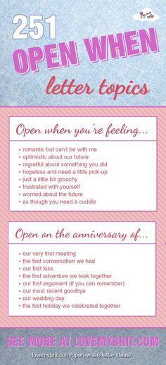 Open When Letter Topics   Pinteres