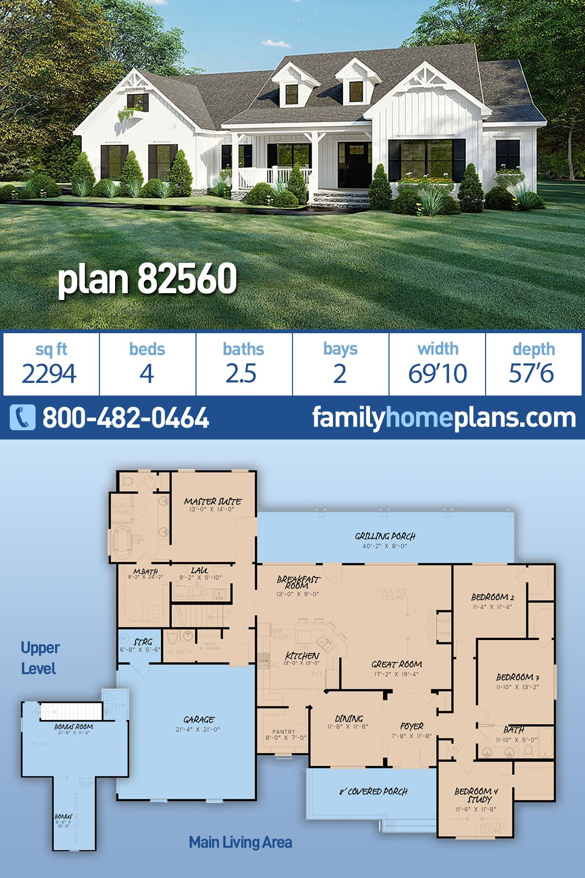 One Story Style House Plan 82560 With 4 Bed 4 Bath 2 Car Garage Family House Plans Ranch House Plan Farmhouse Style House Plans