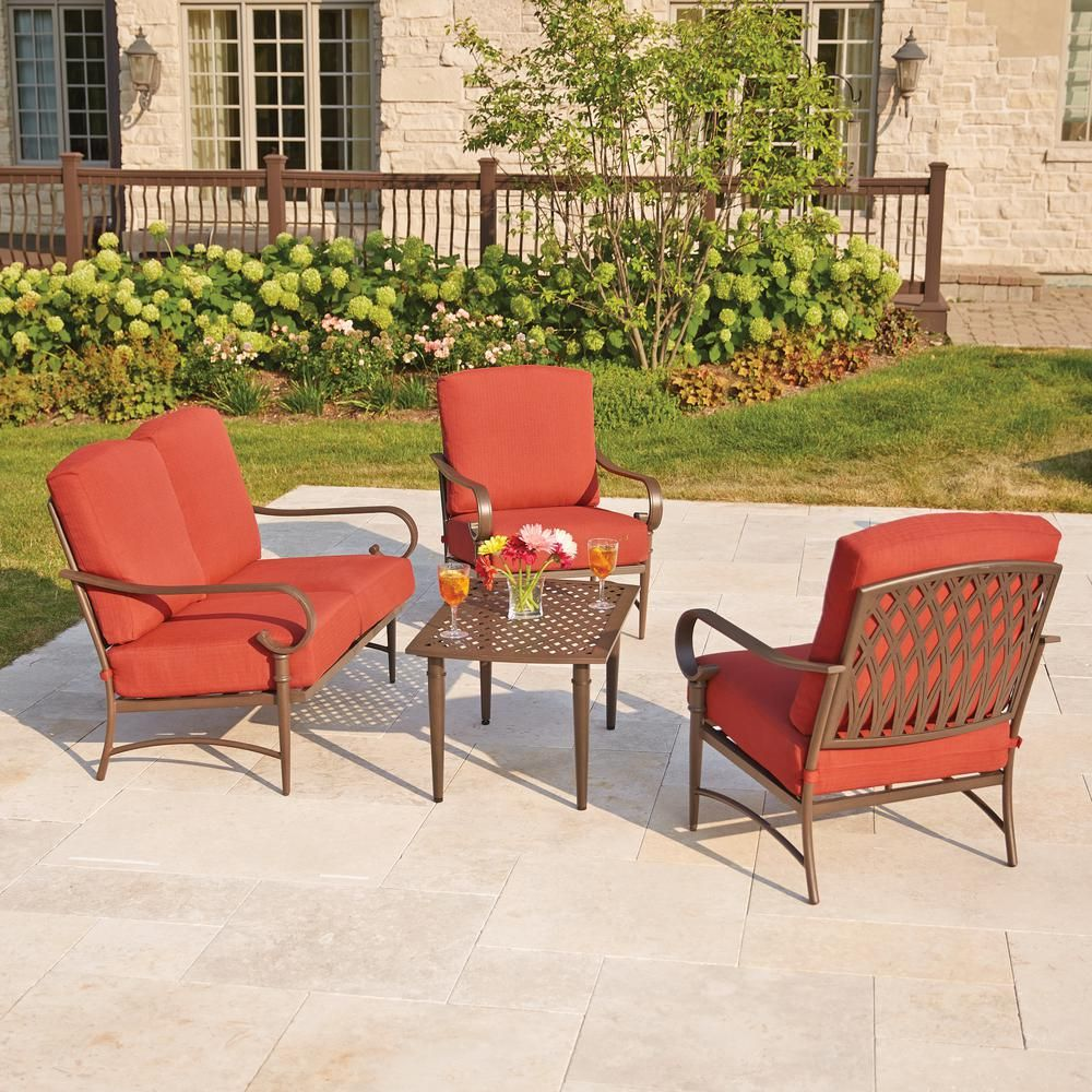 Hampton Bay Oak Cliff 4-Piece Metal Outdoor Deep Seating ...