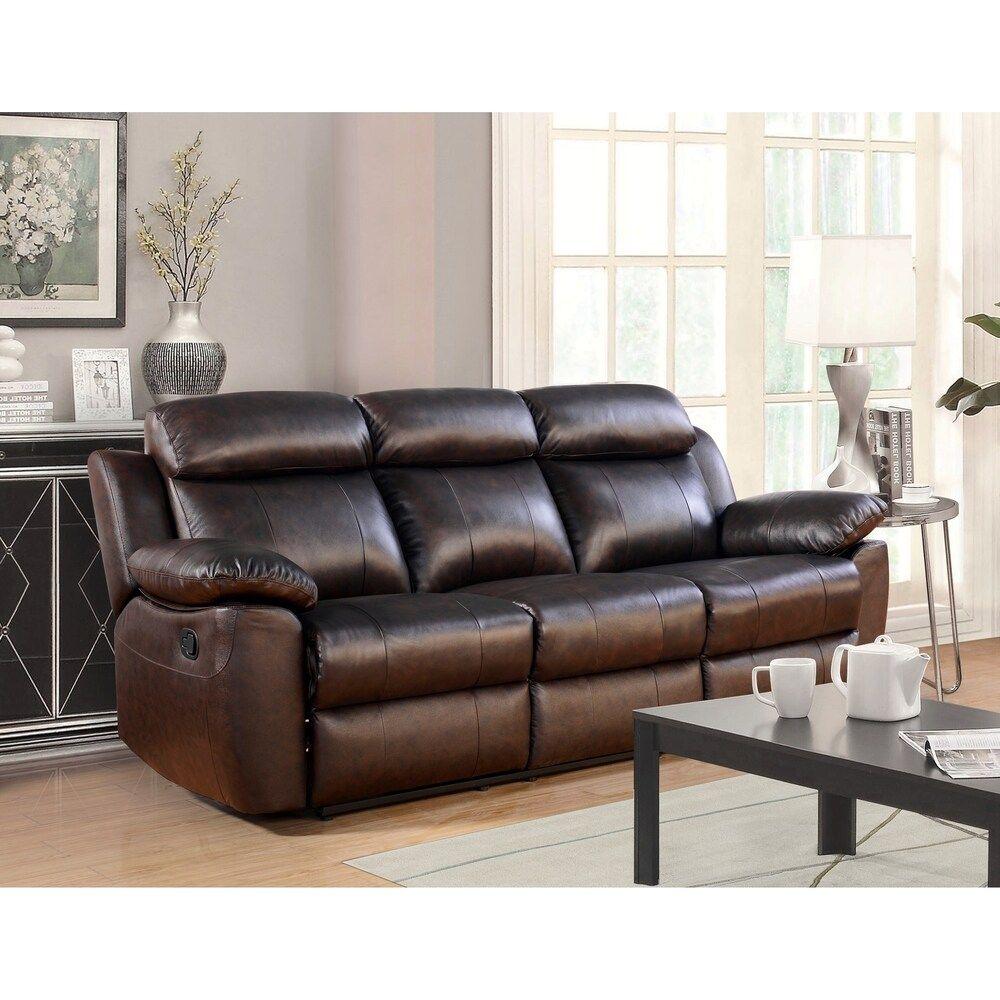 Abbyson Braylen Top Grain Leather Reclining Sofa Manual Recline