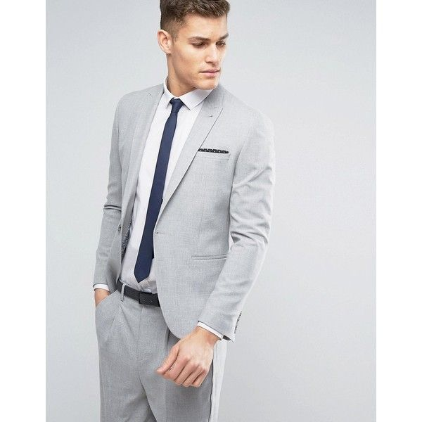 ASOS Skinny Suit Jacket in Pale Grey (101,735 KRW) ❤ liked on Polyvore featuring men's fashion, men's clothing, grey, tall mens clothing and asos mens clothing