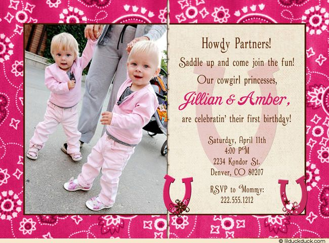 Cowgirl Princesses 1st Birthday Invitation – Toddler Girl Birthday Invitations