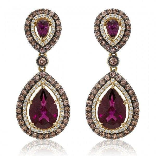 Le Vian 14k Rose Gold Rhodolite Garnet Diamond Dangle Earrings 3 775 Liked